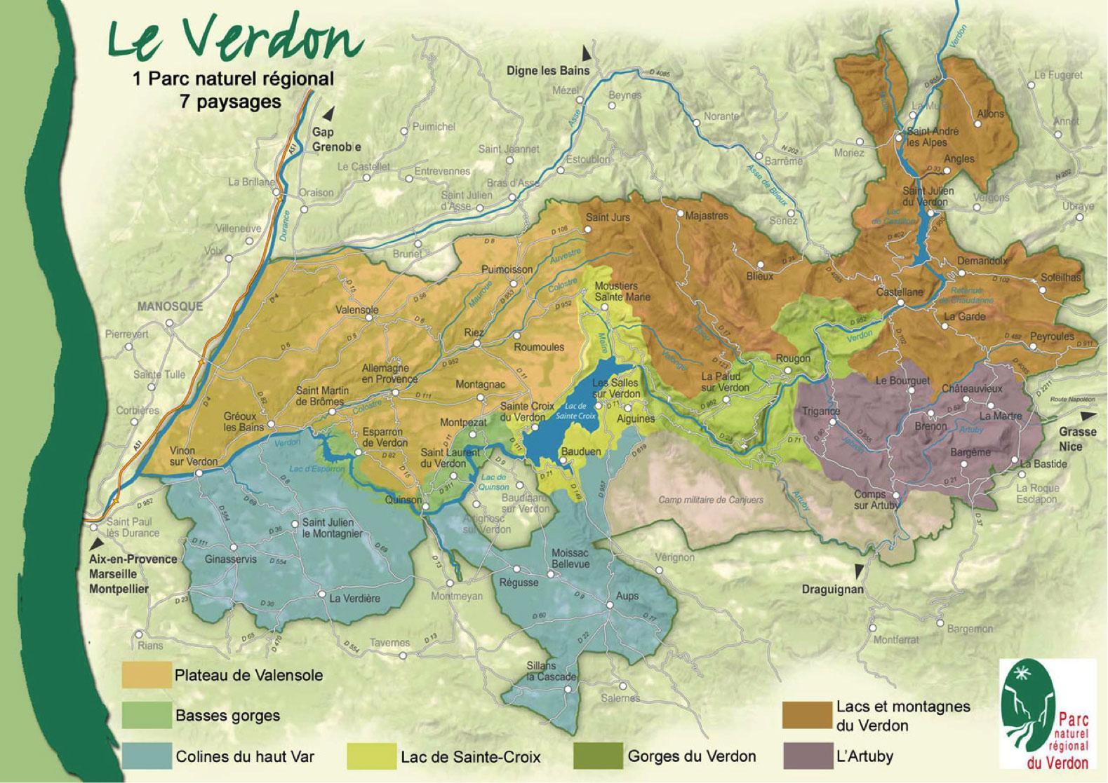 Carte du Parc Naturel Régional du Verdon & ses 7 paysages