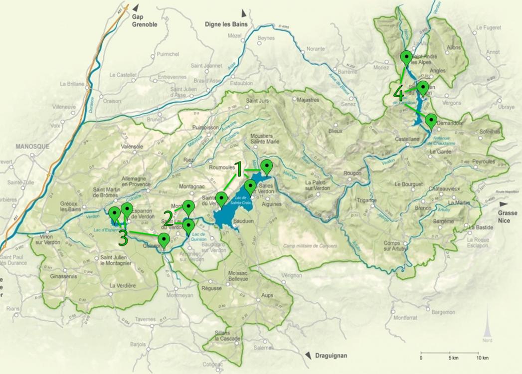 Carte des principaux spots de mise à l'eau pour canoës ou kayaks du Parc naturel régional du Verdon (©Parc naturel régional du Verdon)