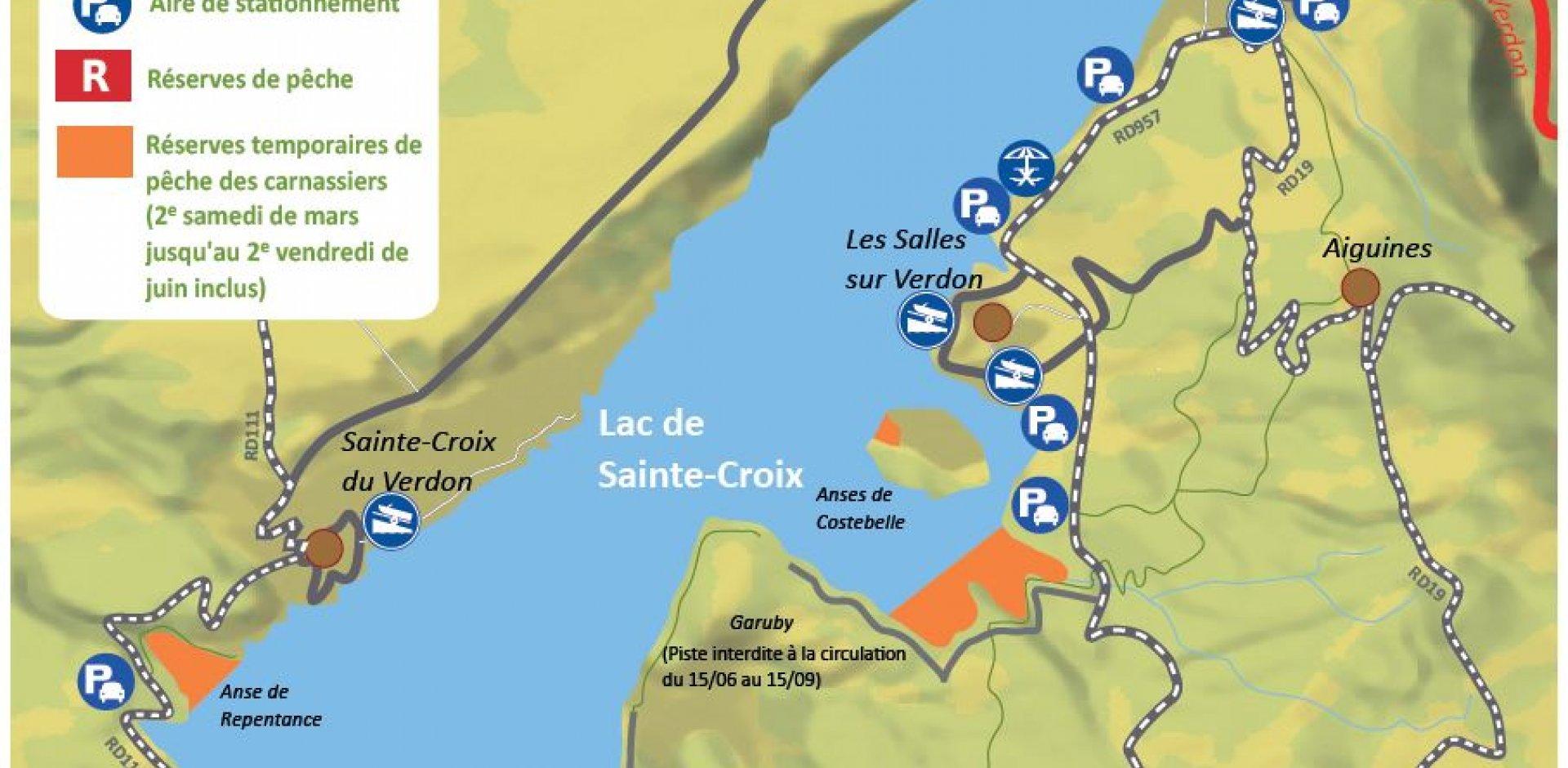 carte de réglementation pour pêcher au lac de sainte croix