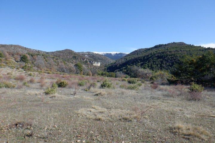 """Tout près du lieu-dit """"En Naups"""", la vue s'ouvre sur le massif du Montdenier..."""